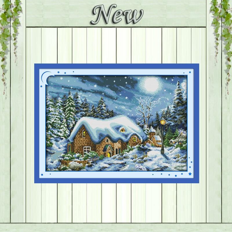 Nejkrásnější sněhová noc, soupravy 11CT 14CT Cross Stitch, sady - Umění, řemesla a šití