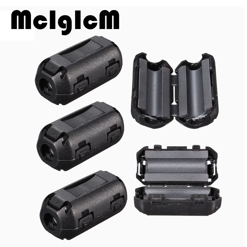 5PCS/lot EMI RFI Filters Black Plastic Clip Noise Suppressor 5MM Cable Ferrite Core Filters Removable Noise Mini 25 (L) x10 (W) 5pcs tdk 13mm clip on rfi emi filter ferrite