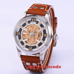 43mm Parnis szafirowe szkło złoto miyota mechanizm automatyczny męski zegarek 525