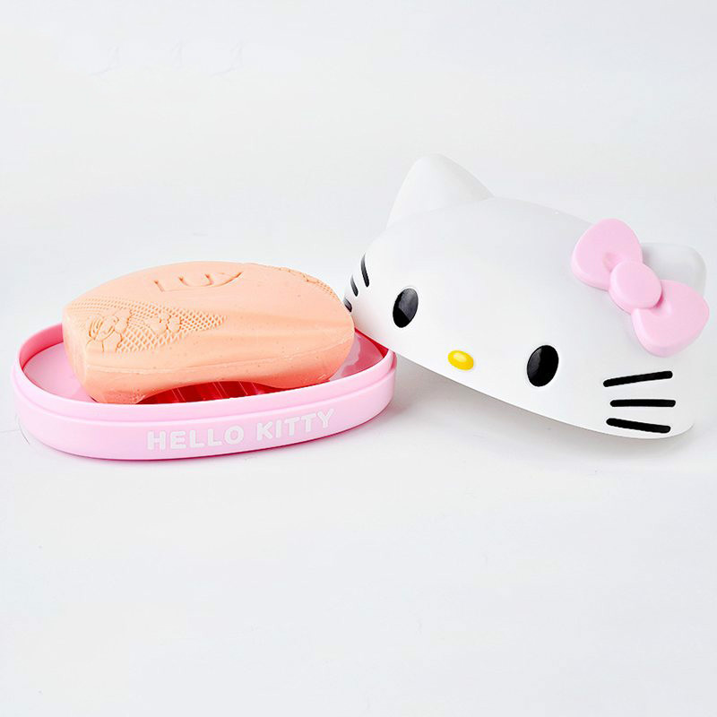 Hello Kitty Soap Box Cartoon Soap Holder Plastic Soap Dish Plate Bathroom Storage Box Bathroom Accessories 2C