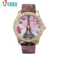 Creative 2017 Summer New Eiffel Tower Pattern Faux Leather Band Analog Quartz Watch Vogue Wristwatches relogio feminino
