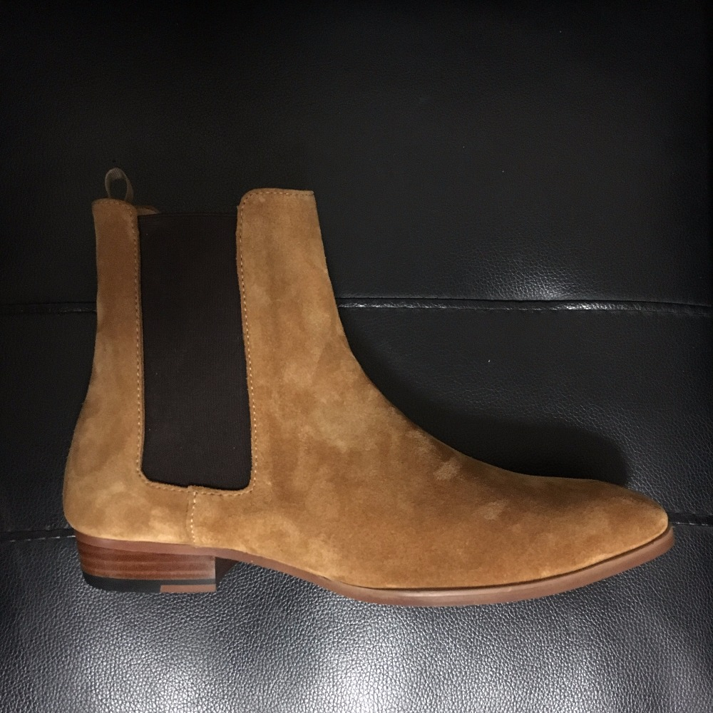 Handmade Lower Heel Comfortable Men's Luxury Chelsea Suede Boots Genuine Leather SLIM Fit Pointed Toed Simple Style Leisure Boot