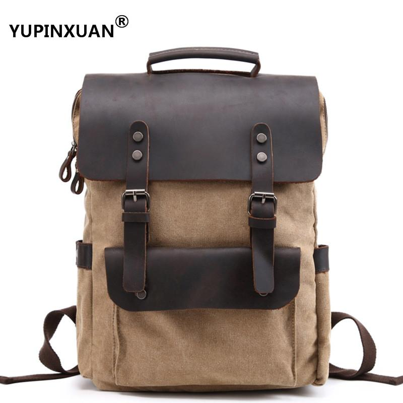 YUPINXUAN Europe Vintage Waterproof Oil Wax Canvas+Crazy Horse Leather Backpack for Men Laptop Daypacks Retro School Bags Large chic canvas leather british europe student shopping retro school book college laptop everyday travel daily middle size backpack