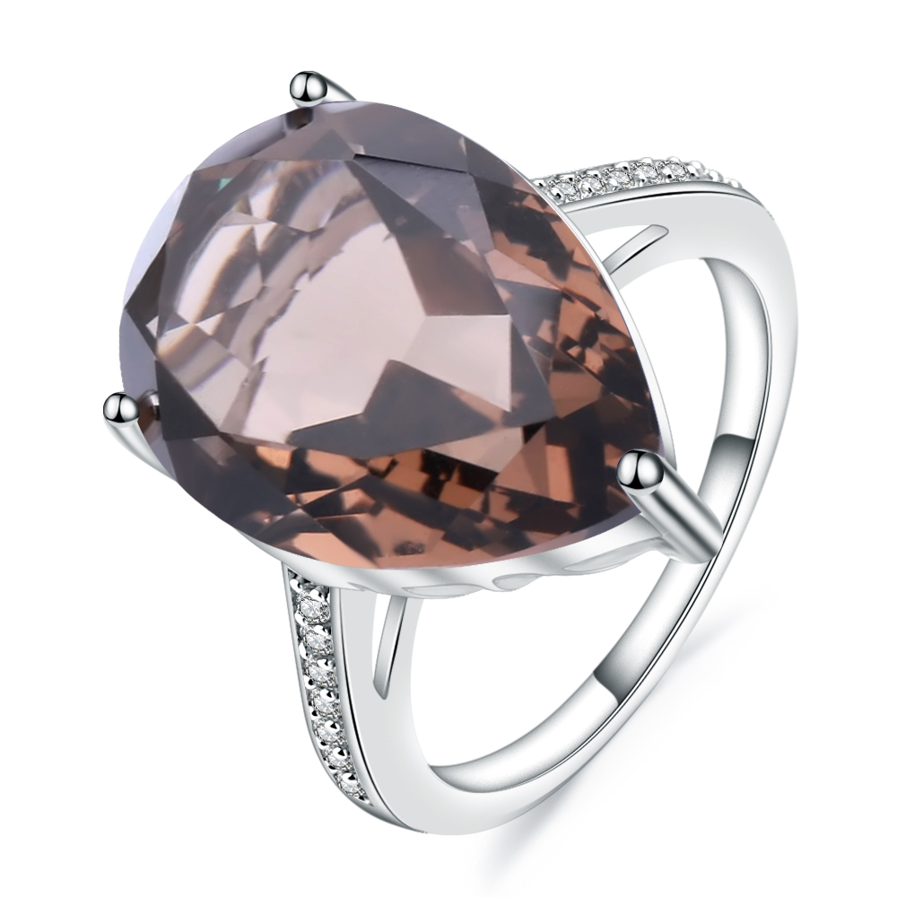 Gem's Ballet 10.68Ct Natural Smoky Quartz Pear Gemstone Ring For Women Solid 925 Sterling Silver Cocktail Rings Fine Jewelry