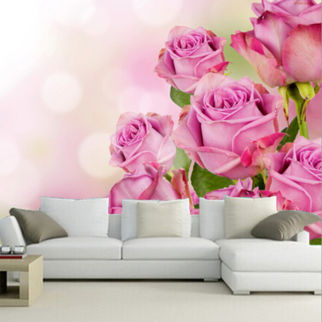 Custom 3D murals,beautiful pink color roses flowers wallpapers ...