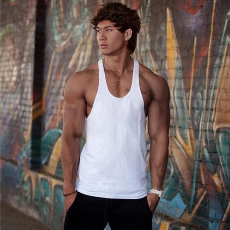 Summer Style New Bodybuilding and fitness Men's Casual Sexy Sleeveless   Tank     Tops   Men Solid Color Cotton   Top   Tees Muscle Vest