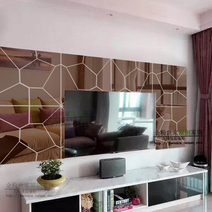 4 Sets Of Lot Geometric Patterns 3d Acrylic Mirror Wall Stickers Home Decor Modern Design