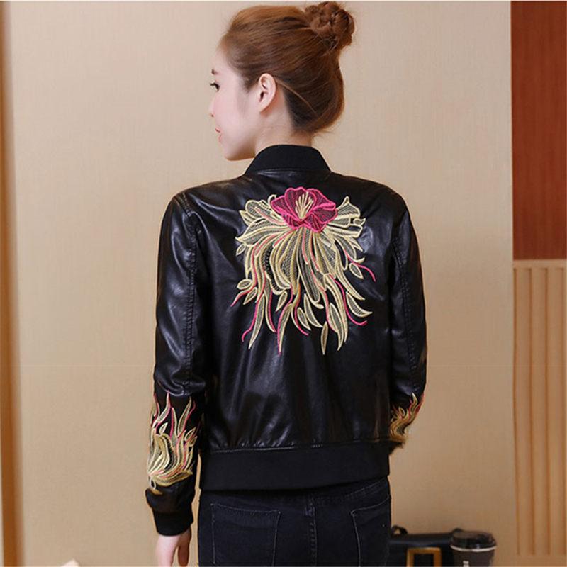Korea PU Leather Jacket Women Winter Autumn Winter Harajuku Embroidery Slim Biker Jacket Faux Leather Short Coats Outerwear