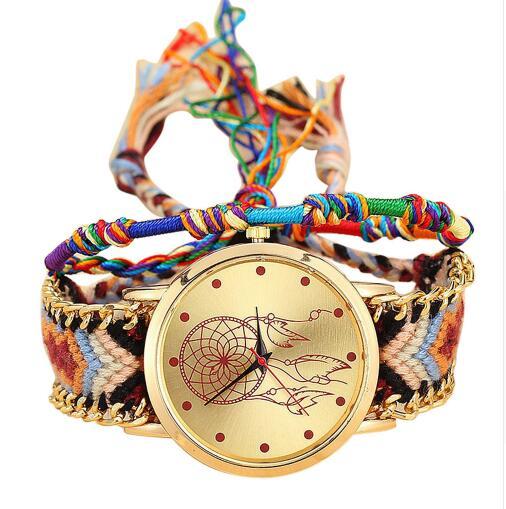 Vintage Women Native Handmade Quartz Watch Knitted Dreamcatcher Friendship Watch Relojes Mujer Drop Shipping Bayan Kol Saati