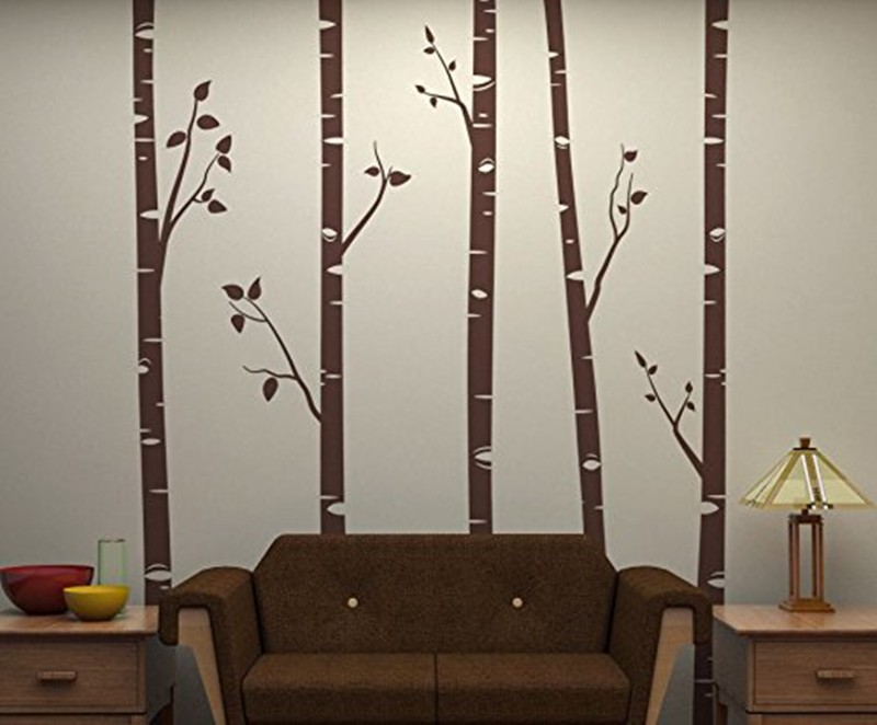 Unique 5 Birch Trees With Branches Wall Stickers Customized Color Decor  Living Room Baby Kids Wallpaper High Quality Mural 641C
