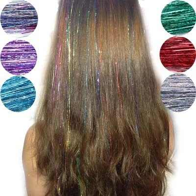 Fashion Sexy 8 Colors Hair Tinsel Sparkle Glitter Extensions Highlights False Hair Strands Party Accessories