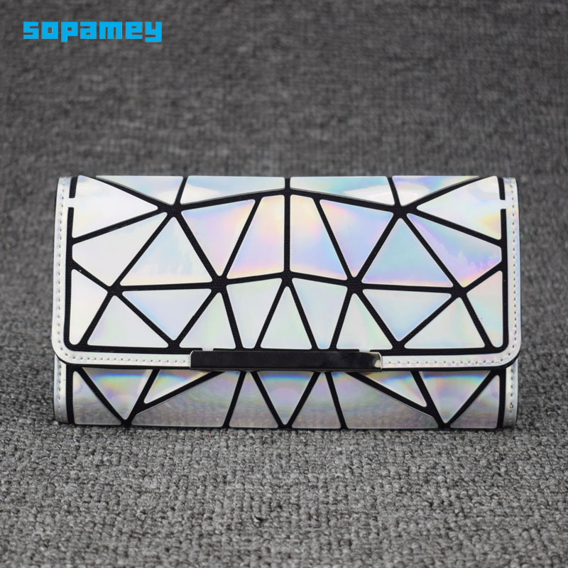 2019 Zipper Wallet Womens Long Clutch Geometric Standard Wallets Purse Women Carteira Hologram Portefeuille Femme Card Holder