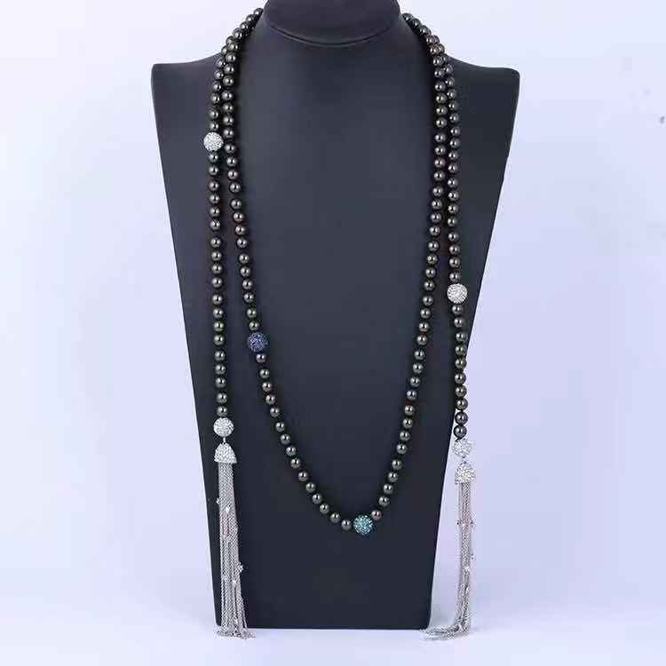 2019 Luxury Fashion Pearls Crystal Tassels Necklace Jewelry For Party