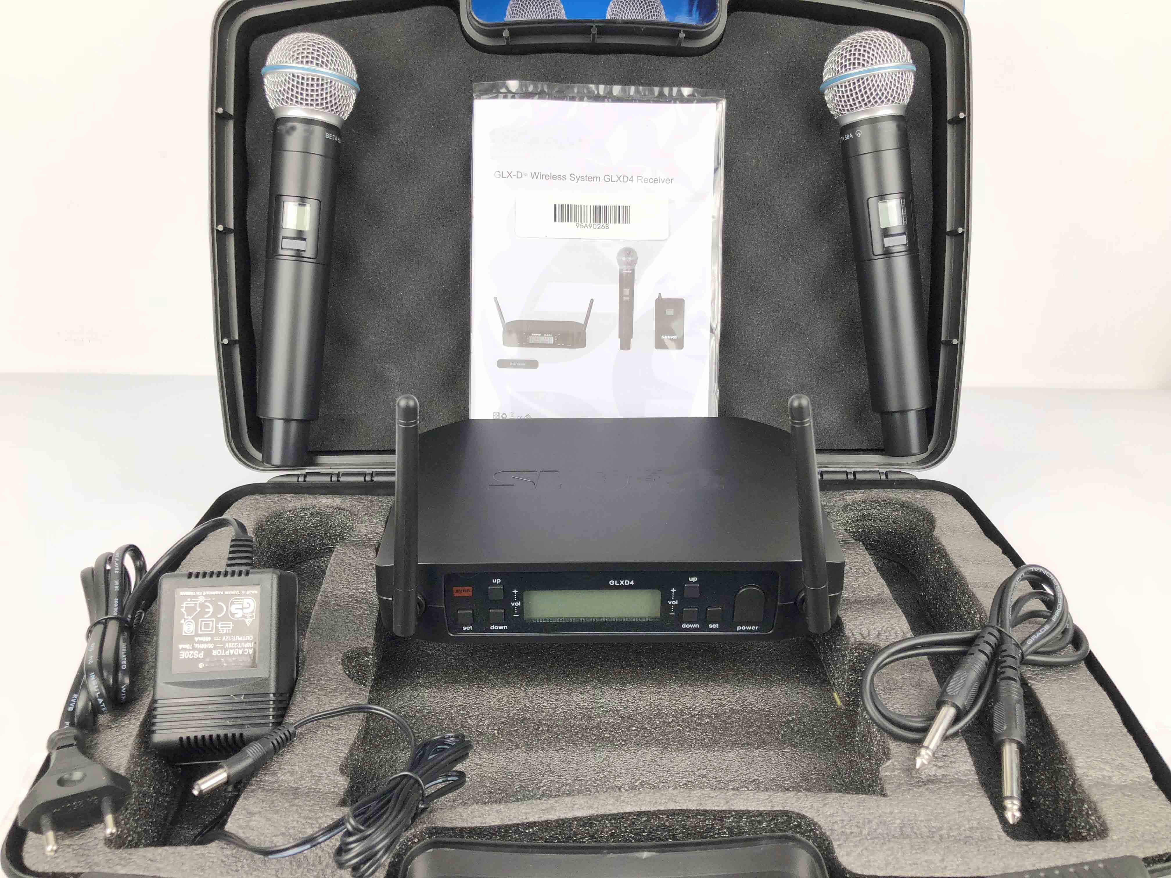 High Quality GLXD4 BETA58 UHF Wireless Microphone System Dual Channel Wireless Microphone with Flight Case for