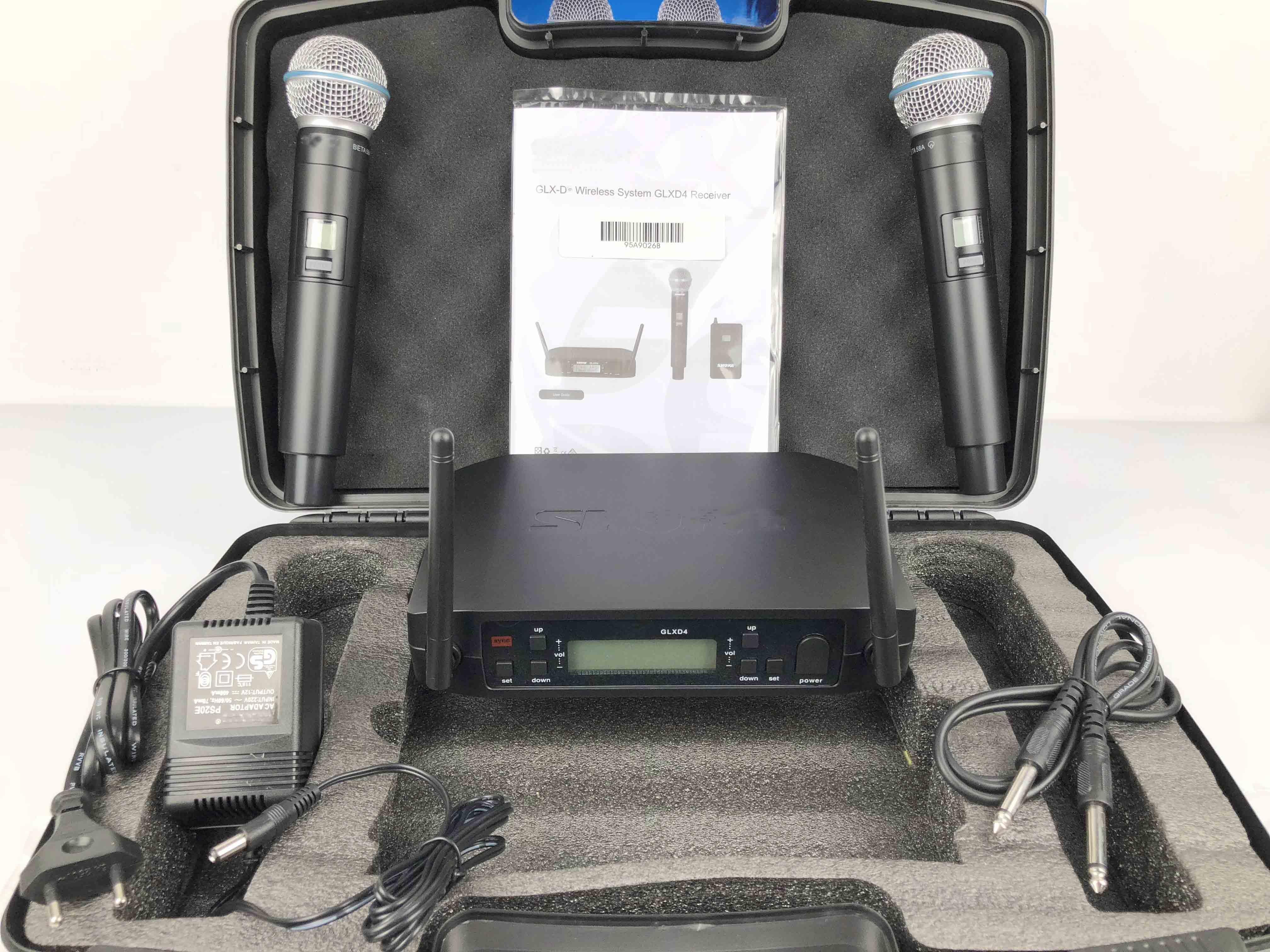 Hohe Qualität GLXD4 BETA58 UHF Wireless Mikrofon System Dual Kanal Drahtlose Mikrofon mit Flug Fall für heißer verkauf-in Mikrofone aus Verbraucherelektronik bei AliExpress - 11.11_Doppel-11Tag der Singles 1