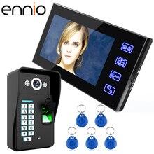 ENNIO SY816A-MJF11 7 inch ip video door phone fingerprint Password video intercom System kit Doorphone 1000 TV Phone Intercom