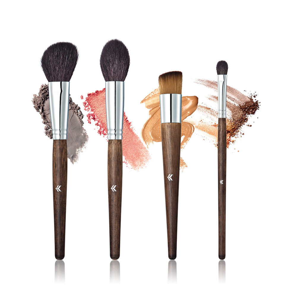 HUAMIANLI Makeup Brush Suit High-grade Solid Wood Handle Animal Hair 4 Sets Of Makeup Brush