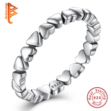 BELAWANG Unique Stackable FOREVER LOVE Heart Finger Ring Wholesale Authentic 925 Sterling Silver Rings Wedding Elegant Jewelry