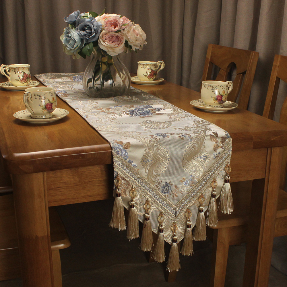 CURCYA Vintage Jacquard Luxury Table Runners for Wedding Party Decoration Beige Classic Home Table Runner Custom