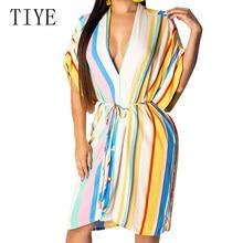 TIYE Vintage Stripe Print Dress Women Elegant Sexy Deep V Neck Tie Up Casual Loose Dresses Female Large Swing Summer Streetwear