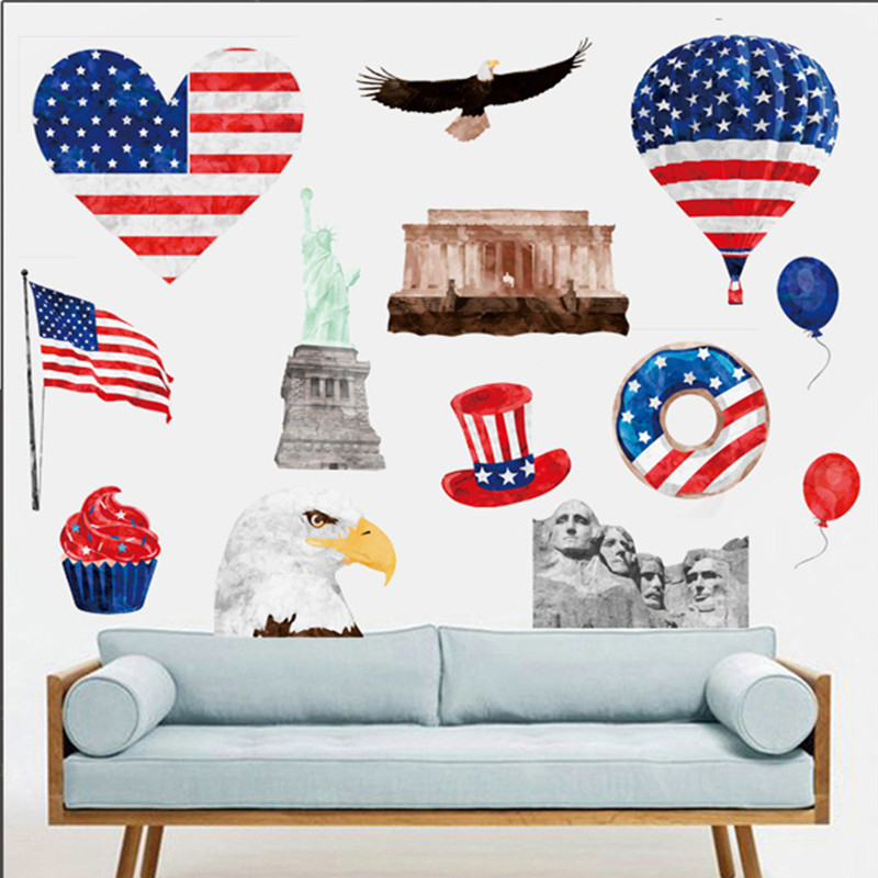 Usa Flag Wall Sticker Map Baby Kids Room Living Room Sofa Background Bar Shop Home Decor