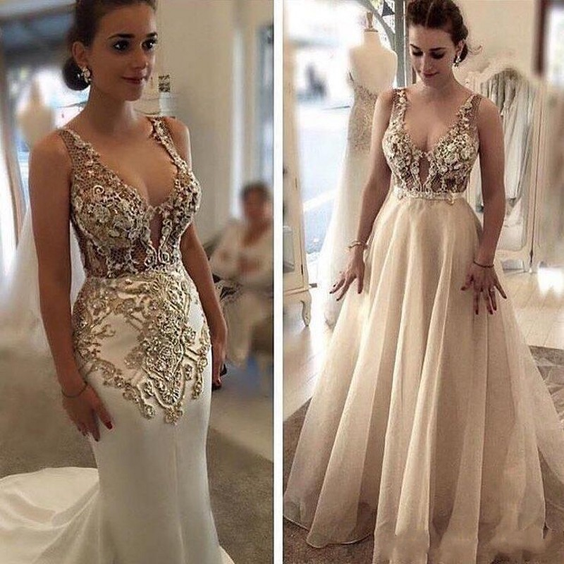 Magnifique Robes 2019 Noiva Perlée Made Amovible Mariée Longue Custom Robe Dessus De Jupe Soirée Appliques wwqTpZE