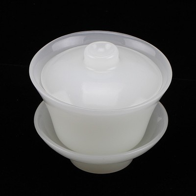 Chinese Natural White Jade Carving Kung Fu Tea Bowl With Fitted Cover Tea Cup Tea Set Statues & Sculptures     - title=