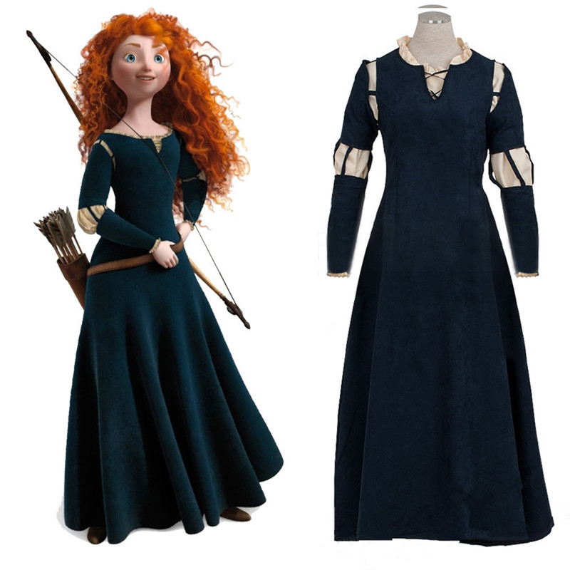 Brave Movie cosplay Princess Merida Cosplay Costume Outfit Halloween party princess Dress cosplay