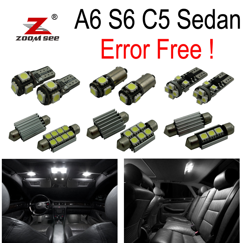 24pc X 100% canbus Error Free for Audi A6 S6 C5 Sedan LED Interior Map Dome Light Kit Package (1998-2004) xenon white 1 50 36mm 6418 c5w canbus led bulbs error free for audi bmw mercedes porsche vw interior map or dome lights