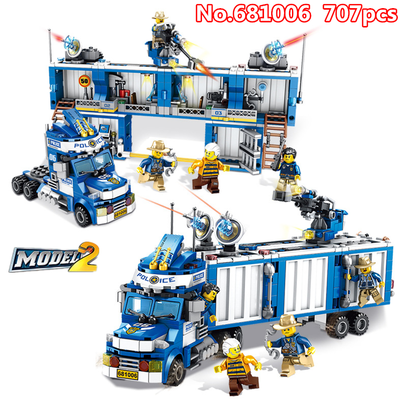707pcs DIY 2in1 Police Mobile Car Building Blocks Arbitrary Change In 2 Forms Model Bricks Compatible With Legoing Toys For Kids707pcs DIY 2in1 Police Mobile Car Building Blocks Arbitrary Change In 2 Forms Model Bricks Compatible With Legoing Toys For Kids