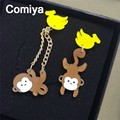Comiya relogio feminino fashion acrylic monkey & banana charms women dangle earrings wholesale pendante femme lady punk earring