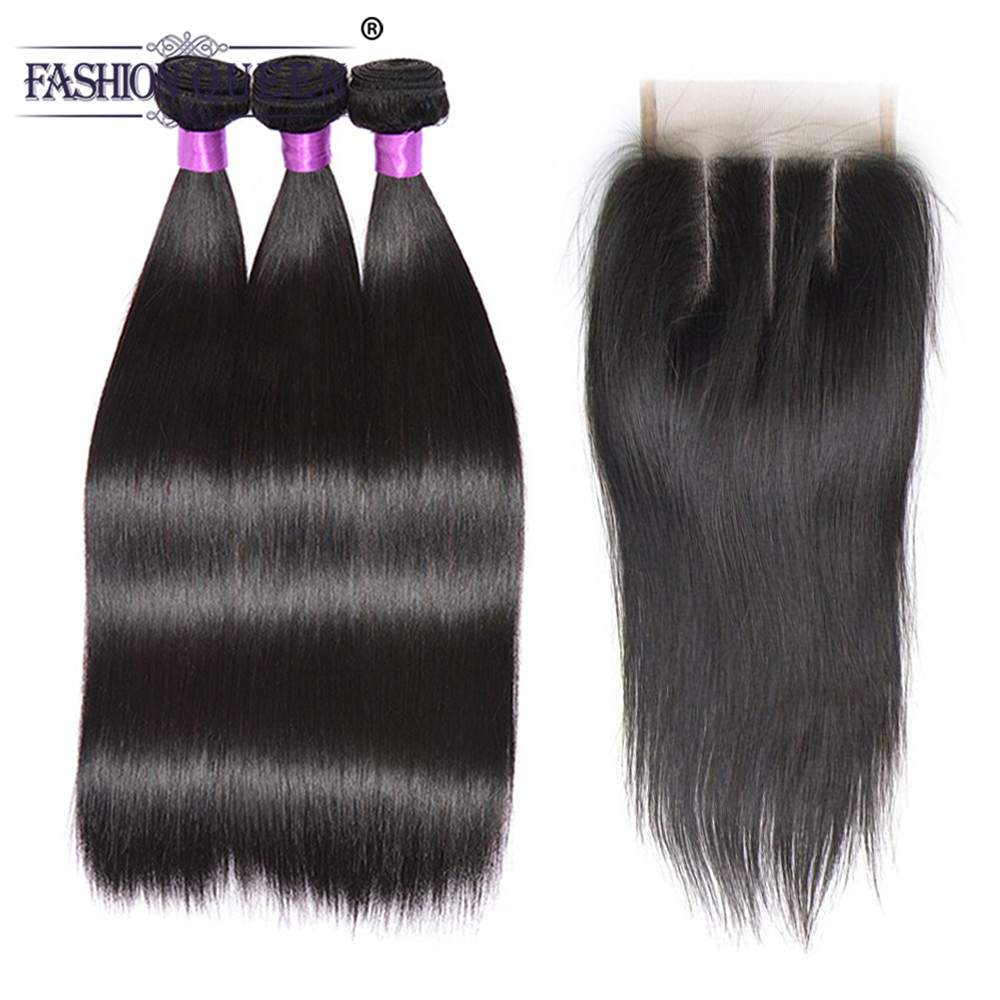 Brazilian Straight Hair 3 Bundles With Closure Remy Human Hair 4 Pcs/Lot Brazilian Hair Weave Bundles With Closure Three Part