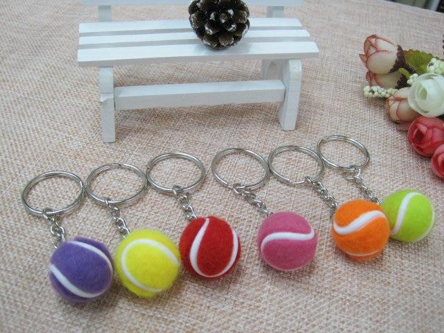 20pcs Tennis Bag Pendant Plastic Mini Tennis Ball Key Chain Small Ornaments Sport Advertisement Keychain Fans Souvenirs Key Ring