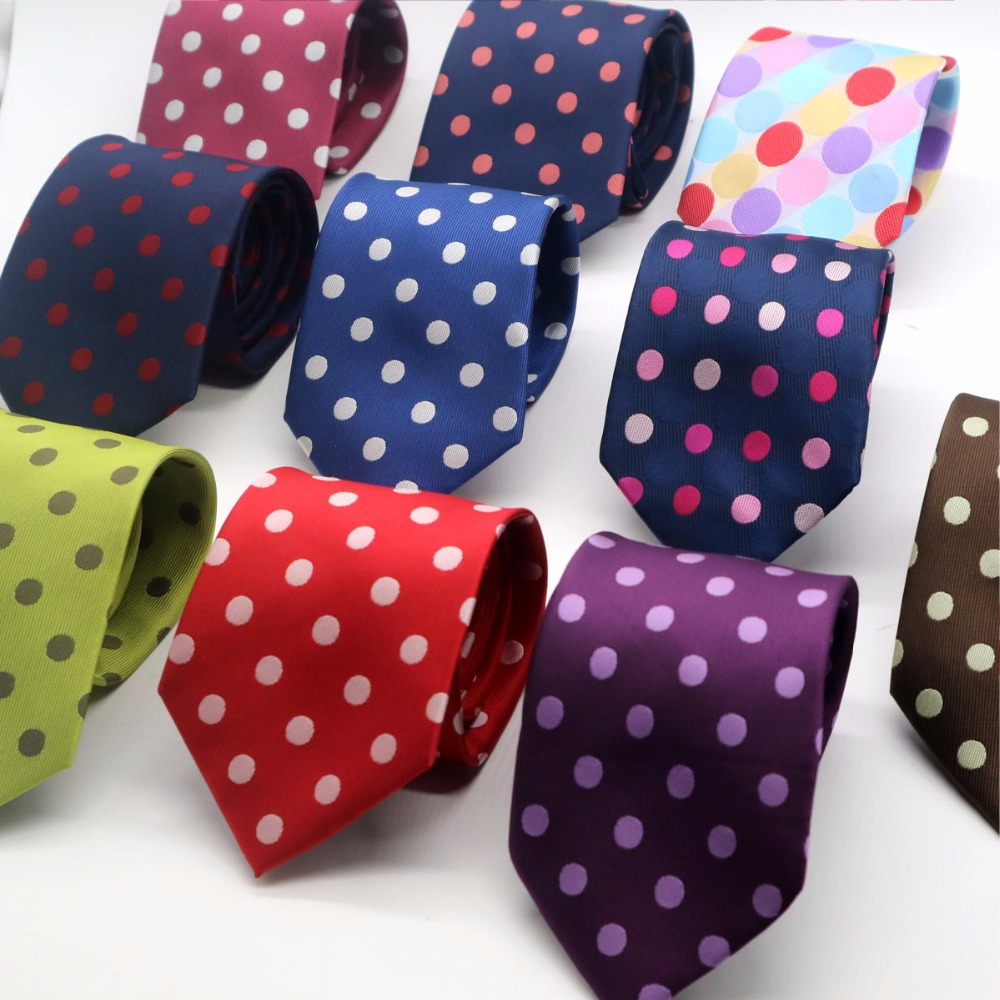 11 Color Luxury Mens Tie 8CM Polka Dot 100% Silk Necktie Jacquard Woven Neck Ties Neckwear For Men Formal Business Wedding Party