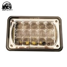 4x6 Sealed Beam LED Headlight Bulb 12V 24V Truck Light for Peterbilt 5 inch 48W 4x6 Rectangular LED Headlight with DRL chrome