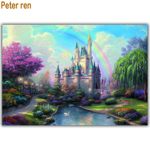 Diamond painting 3d Square mosaic Diy embroidery Swan Lake full picture of rhinestone Crafts furniture decoration Ancient castle