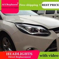 Стайлинга автомобилей светодио дный фара для Ford Focus 3 фары 2012 2014 Европа светодио дный руководство света drl H7 hid Биксеноновая Двухместный объе