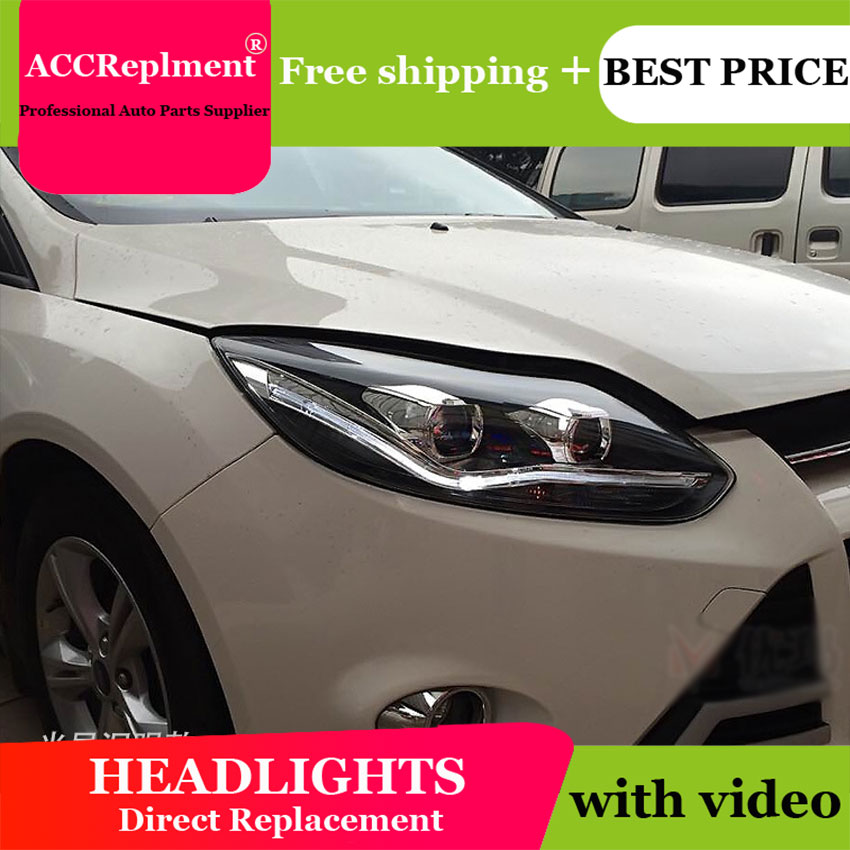 Car Styling LED Head Lamp for Ford Focus 3 headlights 2012-2014 Europe led guide light drl H7 hid Bi-Xenon Double Lens low beam car styling head lamp for ford focus mk2 headlights 2009 2013 led headlight drl bi xenon lens high low beam parking fog lamp