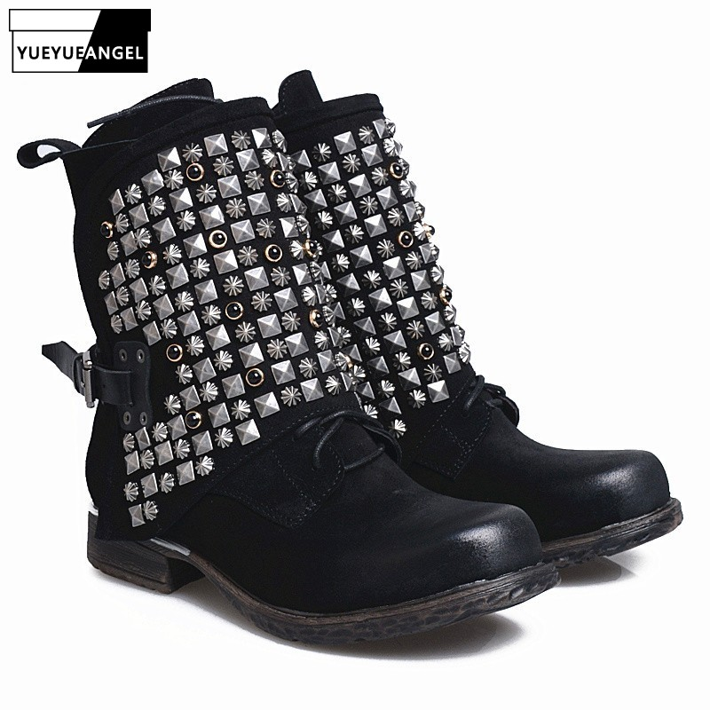 Luxury European Genuine Leather Womens Boots Casual Zipper Rivet Ankle Boots For Women Flat Bottom Fleece Snow Boots Handmade 9T