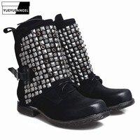 Luxury European Genuine Leather Womens Boots Casual Zipper Rivet Ankle Boots For Women Flat Bottom Fleece Snow Boots Handmade 9T