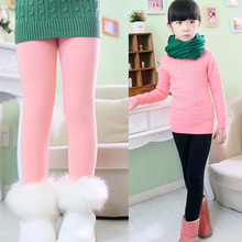 New Arrive 2016 High Quality Baby Girl Winter Leggings 100 Cotton Warm Fur Kids Girls Long