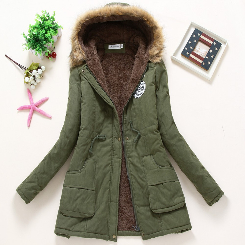 2019 Sell like hot cakes Winter Solid Cotton Fleece Hooded   Parkas   Coat Women Casual Plus Size Slim Zipper DrawString   Parkas