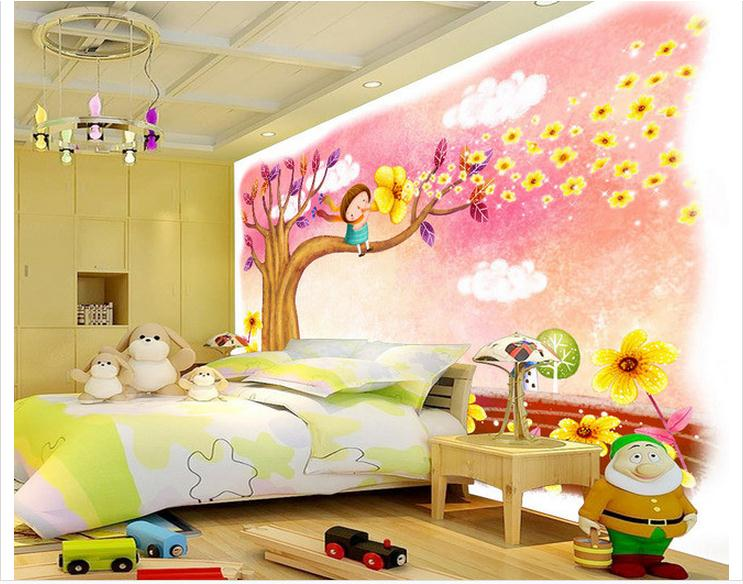 Customzed 3d wallpaper 3d kids wallpaper Romantic fashion cartoon tree children bed room murals 3d room wallpaper