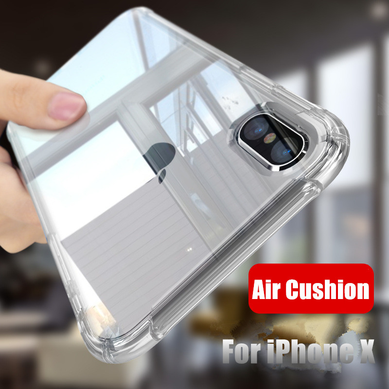 Shockproof 360 Degree Clear Protect Cover for iPhone x Case Soft TPU + Hard PC Plastic Cover For iPhone 6s 6 7 8 Plus xs xr Case(China)