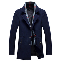 Winter Men Slim Fit Wool Solid Navy Blue Red Brand Clothing Jacket Wool Coat Casual Overcoat