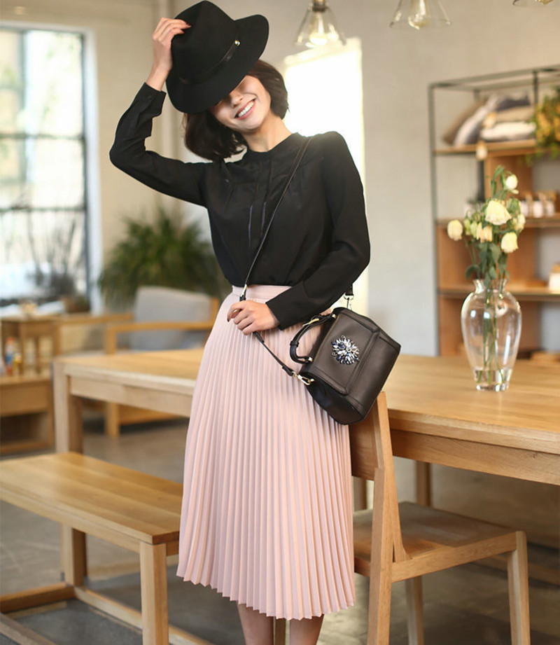 CRRIFLZ 19 Spring Autumn Fashion Women's High Waist Pleated Solid Color Half Length Elastic Skirt Promotions Lady Black Pink 3