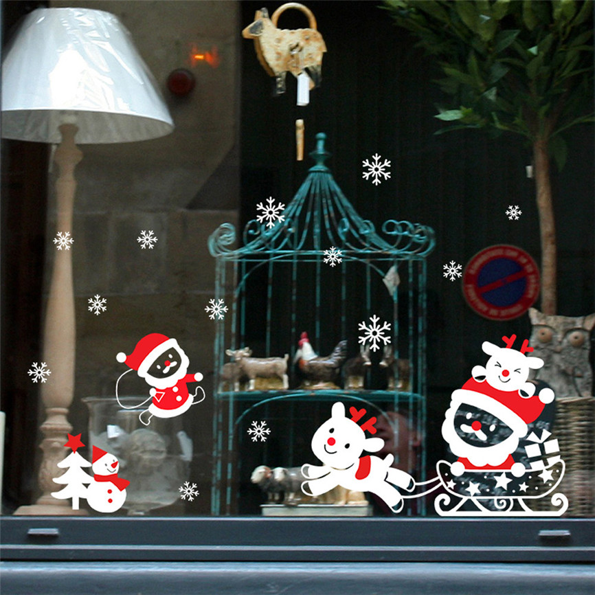 Wallpaper Sticker DIY Merry Christmas Wall Stickers Snowman Tree Window Removable Vinyl Wall Xmas Wallpapers For Living Room B#