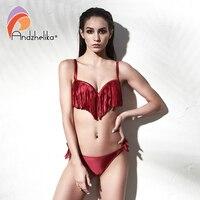 Andzhelika Sexy Tassel Bikini 2018 New Women Swimsuit Brazilian Bikini Set Solid Push Up Swimwear Low