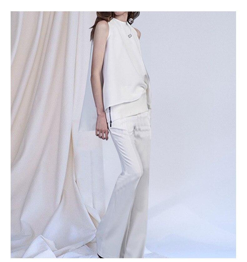 Здесь продается  Women fashion black white sleeveless asymmetric tops and blouse + flare long pants two 2 piece set suit new 2018 summer  Одежда и аксессуары