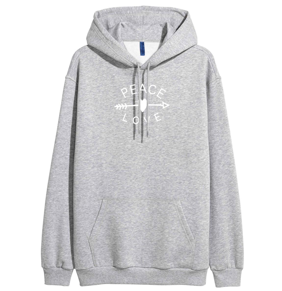 PEACE LOVE Letter Print Hoody For Women 2019 New Arrival Spring Fleece Winter Sweatshirt With Hat Fashion Women's Sportswear